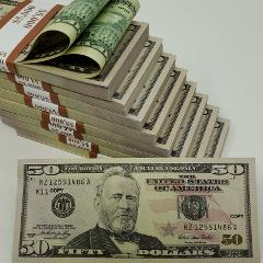 USA Prop Money 50 Pcs X $50 $ double sided,full print fake bil...