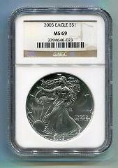 2005 AMERICAN SILVER EAGLE NGC MS69 BROWN LABEL PREMIUM QUALIT...