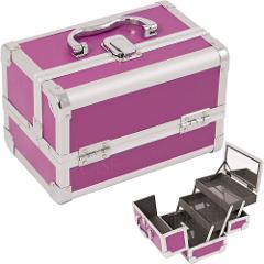 Makeup Train Case Cosmetic Organizer w/ Mirror 3 Trays PURPLE ...