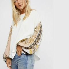 NWT FREE PEOPLE Blossom Thermal Ivory Combo Large L $98 New OB...