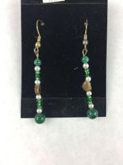 Malachite and Brown Stone Green and White Bead Handmade Earrin...