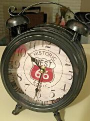 Historic West Route 66 Clock. Vintage Look With Decorative bel...