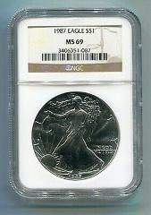1987 AMERICAN SILVER EAGLE NGC MS69 BROWN LABEL PREMIUM QUALIT...
