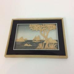 Framed Cork Wood Cut Picture Artwork Sail Boats Water Tree Isl...