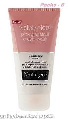 6 x Neutrogena Visibly Clear Pink Grapefruit Cream Wash - spot...