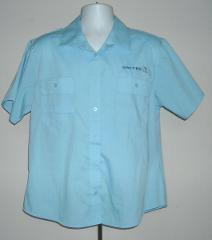 MENS UNITED AIRLINES PILOT CREW BUTTON FRONT SHIRT LARGE BLUE ...