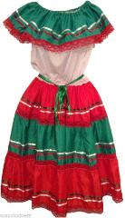 XL Mix Color Beautiful Mexican Dress for any Mexican Occasion...