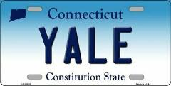 Yale Connecticut Novelty Metal Vanity License Plate
