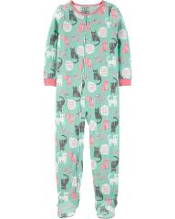 Carters Fleece Footed Pajama Blanket Sleeper Sz 8 14 Cat Need ...