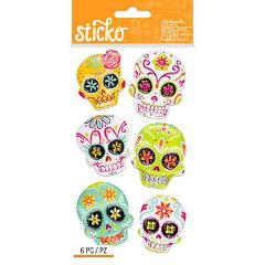 Sticko Halloween Sugar Skull Dimensional Stickers - 6 Stickers