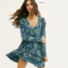 Free People NWT Hello Lover Tunic Mini Dress Medium M Dusty In...