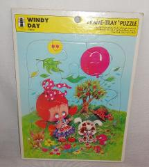 VTG Windy Day Rainbow Works 1974 Tray Puzzle U.S.A. Ages 3-7 D...