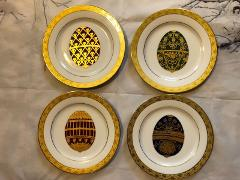 Muirfield Celebrity Faberge Egg Gold Trim Plates Set Of 4 Coll...