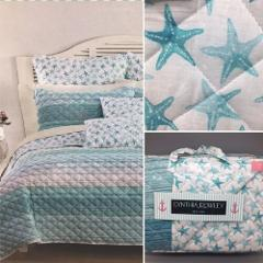 Cynthia Rowley Starfish TWIN Reversible Quilt Striped Ocean Be...