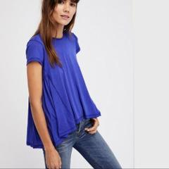 FREE PEOPLE It's Yours High Low Peplum Tee Top Blue Sz Medium-...