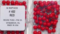 1/4 Inch Map Tacks - Red Moore Push Pin