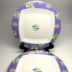 Set of Four Purple Melamine Dessert/Salad Plates Groovy Fun Pi...