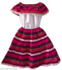 Colored-Mexican Elastic GIRL Dress Skirt & Blouse for any Mexi...