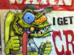 Ed Roth Style Crazy Man WARNING for My Tools Tin Metal Sign Me...