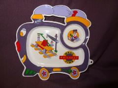 Train Plate Childs Meal Railroad Time Purple Engineer Plastic ...