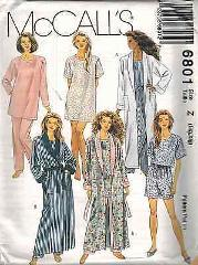 6801 UNCUT McCalls SEWING Pattern Misses Robe Tunic Top Pants ...