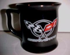 Corvette Flag Logo General Motor Licensed Black Ceramic Coffee...