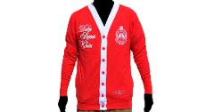 Delta Sigma Theta Sorority 1913 RED WHITE LIGHT CARDIGAN SWEAT...