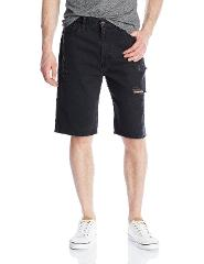 Levis Mens 569 Loose Straight RIPPED Shorts Black Dell Size 30...