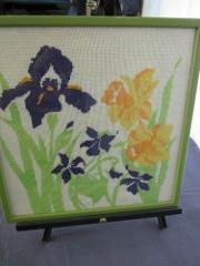 Vtg Embroidery Needlepoint Orchids Lillies Framed 16 x 16