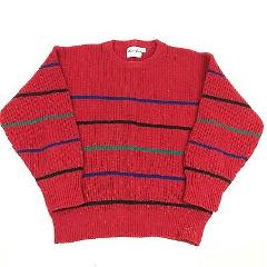 Vtg 90s Striped Speckled Knit Red Sweater Ribbed L Fashion Chr...