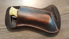 Cross Draw Buffalo leather knife sheath Dark oil rustic. fits...