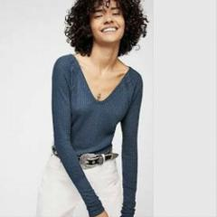 Free People We The Free Catalina Thermal Top Lagoon Medium M $...