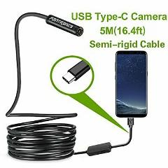 USB Snake Inspection Camera 2.0 MP IP67 Waterproof USB C Bores...
