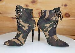 So Me Brianna Camo Print Point Toe High Heel Ankle Boot Shoe 6...