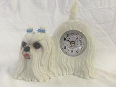 BACK TO SCHOOL SALE Critter Clock Maltese Tabletop Wagging Tai...