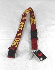 NCAA College USC Trojans Red Lanyard Key Chain W/ Detachable B...