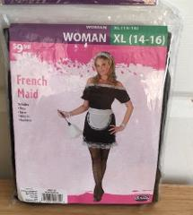 French Maid Costume Set Women's Xl New Halloween Cosplay