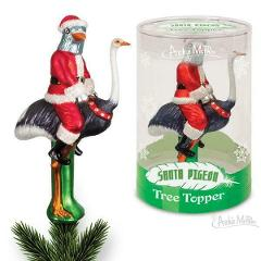 Santa Pigeon Tree Topper Christmas Decoration Décor Holiday Wi...