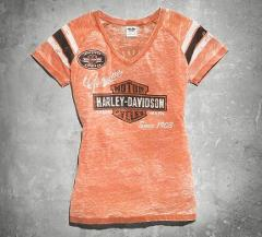 Vintage Orange Womens Harley Davidson Genuine Oil Can Burnout Tee