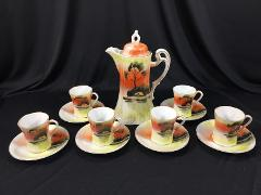 Vintage Orange Japanese Tea Set Tea Pot 6 Cups & Saucers Made ...