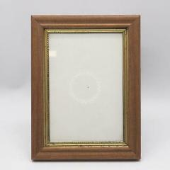 Vintage Wood & Goldtone Metal Picture Frame w/ Glass for 5x7
