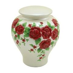 Red Roses, Full Size Urn Funeral Cremation Urn For Ashes
