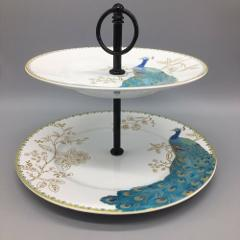 222 Fifth Peacock Garden Tidbit Serving Tray Stand Dessert Tur...