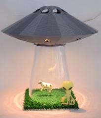 UFO Alien Abduction Lamp SILVER Spaceship Light Flying Saucer ...