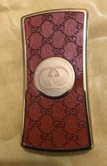 Gucci Leather & Brass Wind Proof Gas Lighter Great Gift All S...