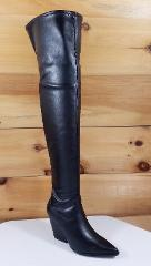 Cape Kelsey Smooth Black OTK Thigh High Cowboy Style Boot