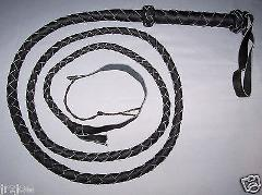 8 foot 4 plait Black INDIANA JONES Real Leather BULLWHIP BULL ...