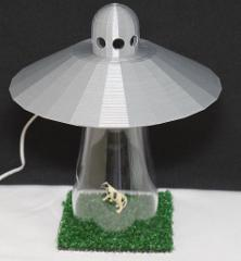 UFO Alien Abduction Lamp Bedroom SILVER Spaceship Light with C...