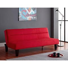 Red Convertible Futon Sofa Bed Living Room Small Space Furnitu...