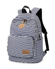 Spalison Striped Canvas Backpack Girls School Bag Women Casual...